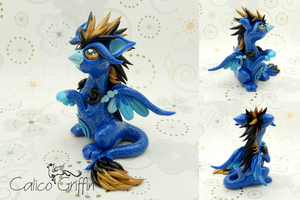 Viento - glittery blue griffin - polymer clay by CalicoGriffin