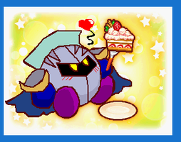Meta Knight sprite cake by Queen-Koopa