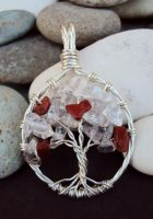 Tree of Life Pendant w/Quartz and Red Jasper Leave by baldwin857