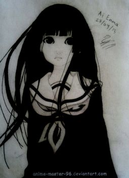 First Anime drawing ever :D - Ai Enma by anime-master-96