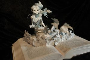 Daenerys and Dragons Book Sculpture by wetcanvas