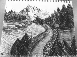 first Charcoal Landscape by Whisper-of-a-phoenix