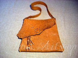 Orange leather messenger bag by izasartshop