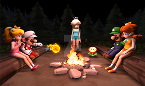 Mario and Friends at the Campfire by BradMan267