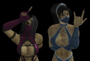 Mileena and Kitana by dnxpunk by dnxpunk
