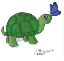 Turtle With Butterfly by LinkSketchit