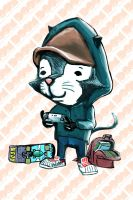 Maxwell the video gaming cat by DoomCMYK