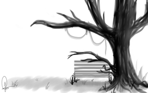 Park bench and Tree by LAAPPLEPIE