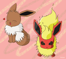 Eevee and Flareon by keicea