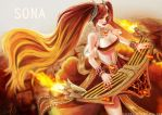 Sona the fire dancer by AcyeL