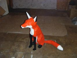 Paper Mache Fox Stage 7 by TheCrookedFox