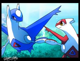 latios and latias holdn' hands by chocolatecherry