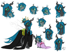 Chrysalis and Pupa - Changeling Queen and Princess by MagicMan001