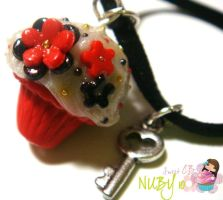 Red Velvet Cupcake Necklace by colourful-blossom