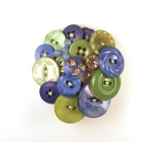 Vintage Button Brooch Blue and Lime by annjepsen