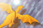 Dragonite takes flight by Fellduck