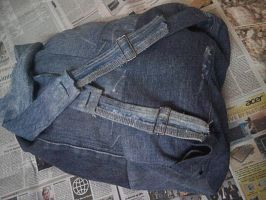 backpack from old denim. back view. by yashesh
