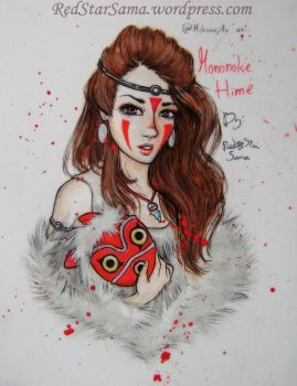 Mononoke Hime - Watercolor Tutorial by RedStar-Sama