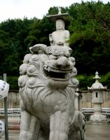 Temple Lion with Buddha by jeffrade
