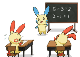 Math Class with Plusle and Minun by DelphinusW