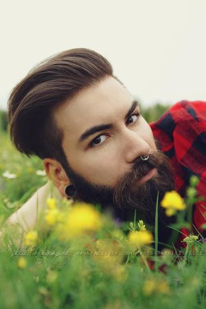 The bearded man in the flower field 1 by Estelle-Photographie