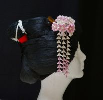 Elegant Pink Cherry Blossoms Kanzashi with Falls 1 by japanesesilkflowers