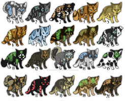 Adoptables Puppies with glowing markings by TaraviAdopts