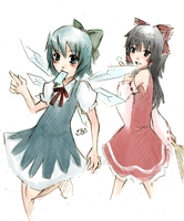 Touhou: Cirno and Reimu by velynn