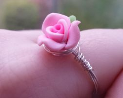 Polymer Clay Rose Wire Wrap Ring by DruidOfTheValeDesign