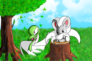 Gardevoir and Cinccino In the Meadow Colored