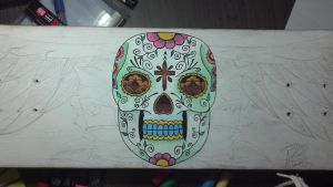 Step #2 Mexican Skull to Sk8 Deck by rodrigobrazz