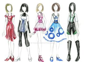 Fashion Sketches - Shapes by Tamao