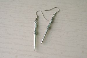 Silver Wand Earrings by MonsterBrandCrafts