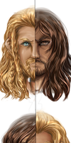 Kili and Fili - Half Face Portrait by FlorideCuts