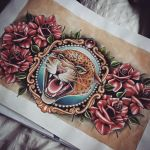 Leopard and Roses Chest Tattoo design by kirstynoelledavies