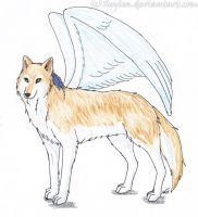 Winged Wolf with Feathers by Xeylen