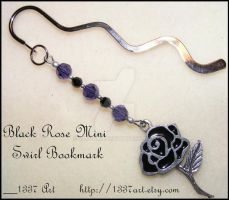 Black Rose Mini Swirl Bookmark by 1337-Art