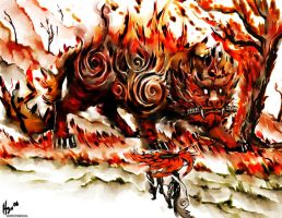 Amaterasu vs Fire Beast by hyrohiku