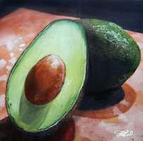 Avocado Mini Painting - Oils by stevegoad