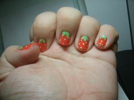 Strawberry Nails by MEWtube3000