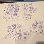 Friends and Music doodles  by TheBlackCatComesOn13