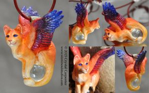 Sunset Star - Winged Feline Pendant by soulofwinter