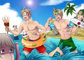 Axis Beach Hetalia by Loihtuja