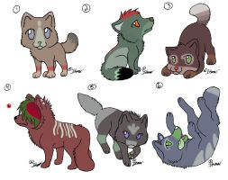 Chibi Wolf Adoptables (CLOSED) by MegaJerk