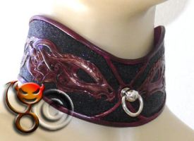 Tooled, carved leather collar by tupali