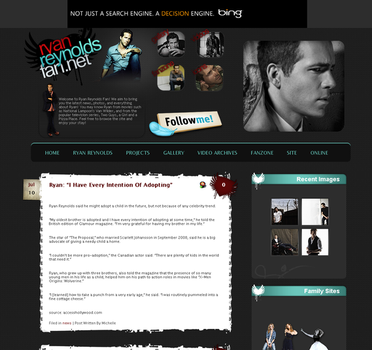 Ryan Reynolds Fansite Layout by thischick