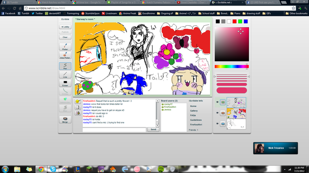 iScribble fun! STONED TAILS, HIS ADMIRER AND SONIC by lilypad954