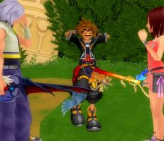 Stop it Sora, I'm trying to train Kairi! by SanctuarysEmbrace