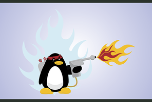 Flamethrower Penguin by Mehdals by ShouldBee