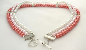 Pink Triple Strand Necklace by MoonlightCraft